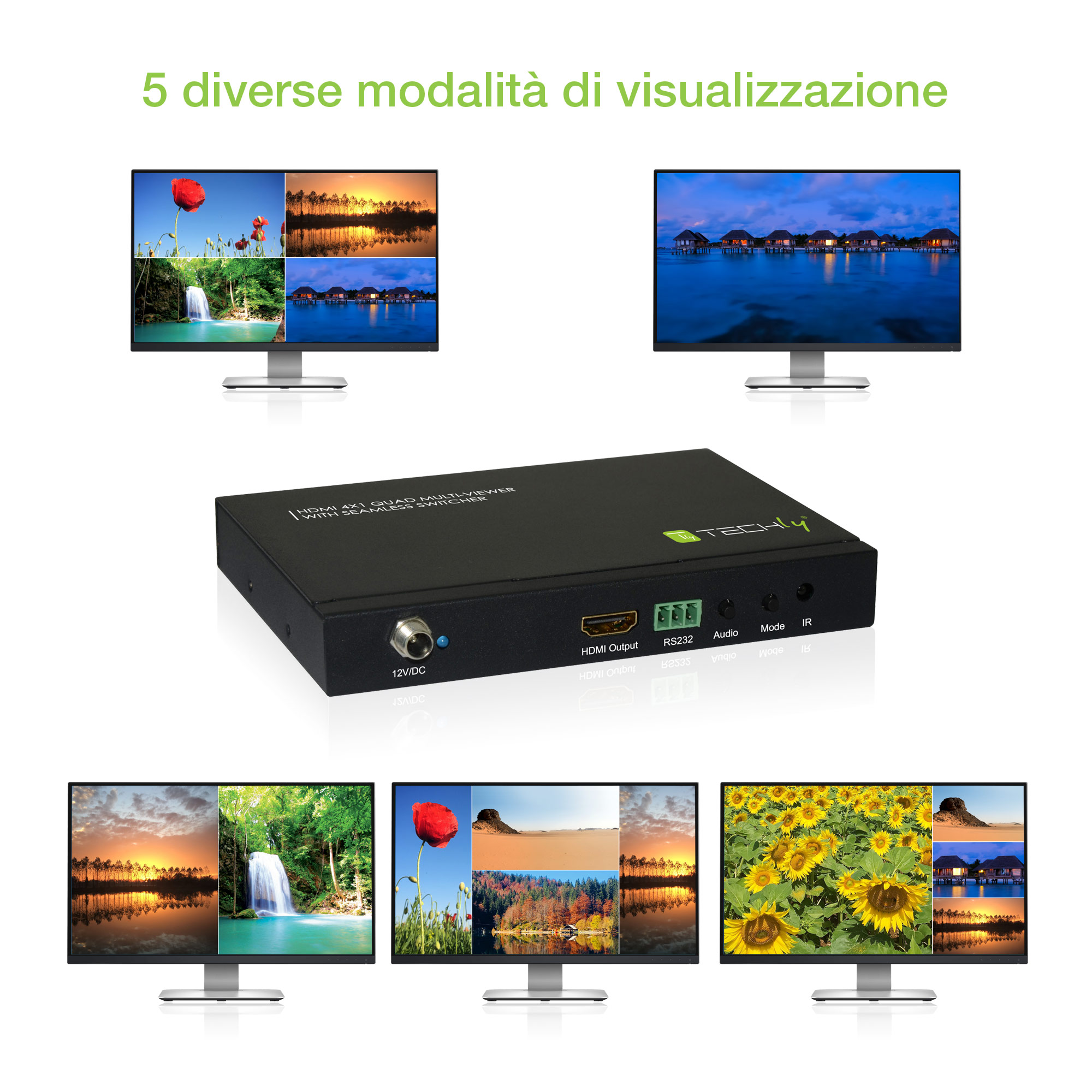 HDMI 4x1 Multi-viewer with seamless switcher - Audio Video Switch