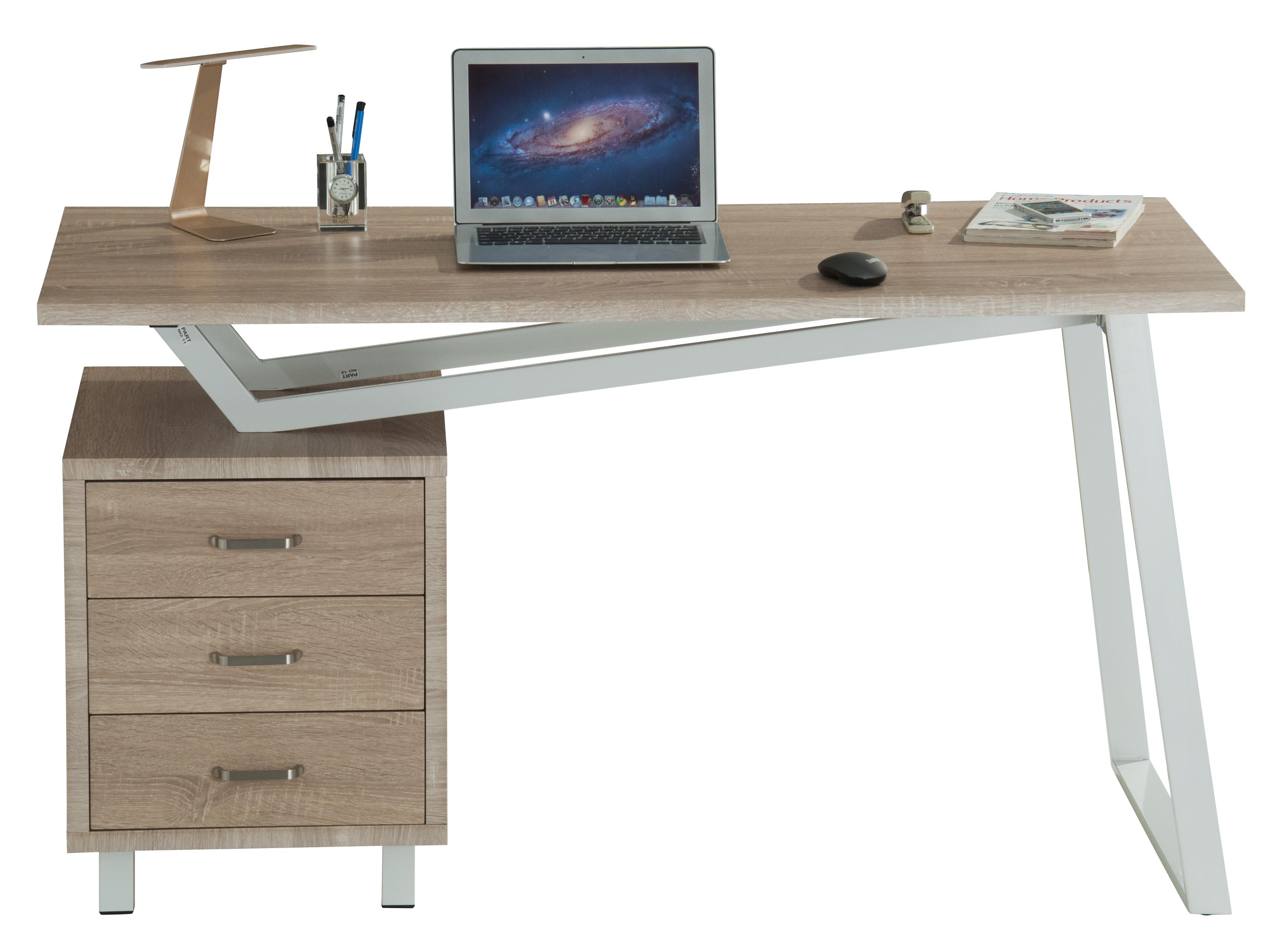 Scrivania per computer con tre cassetti bianco quercia techly