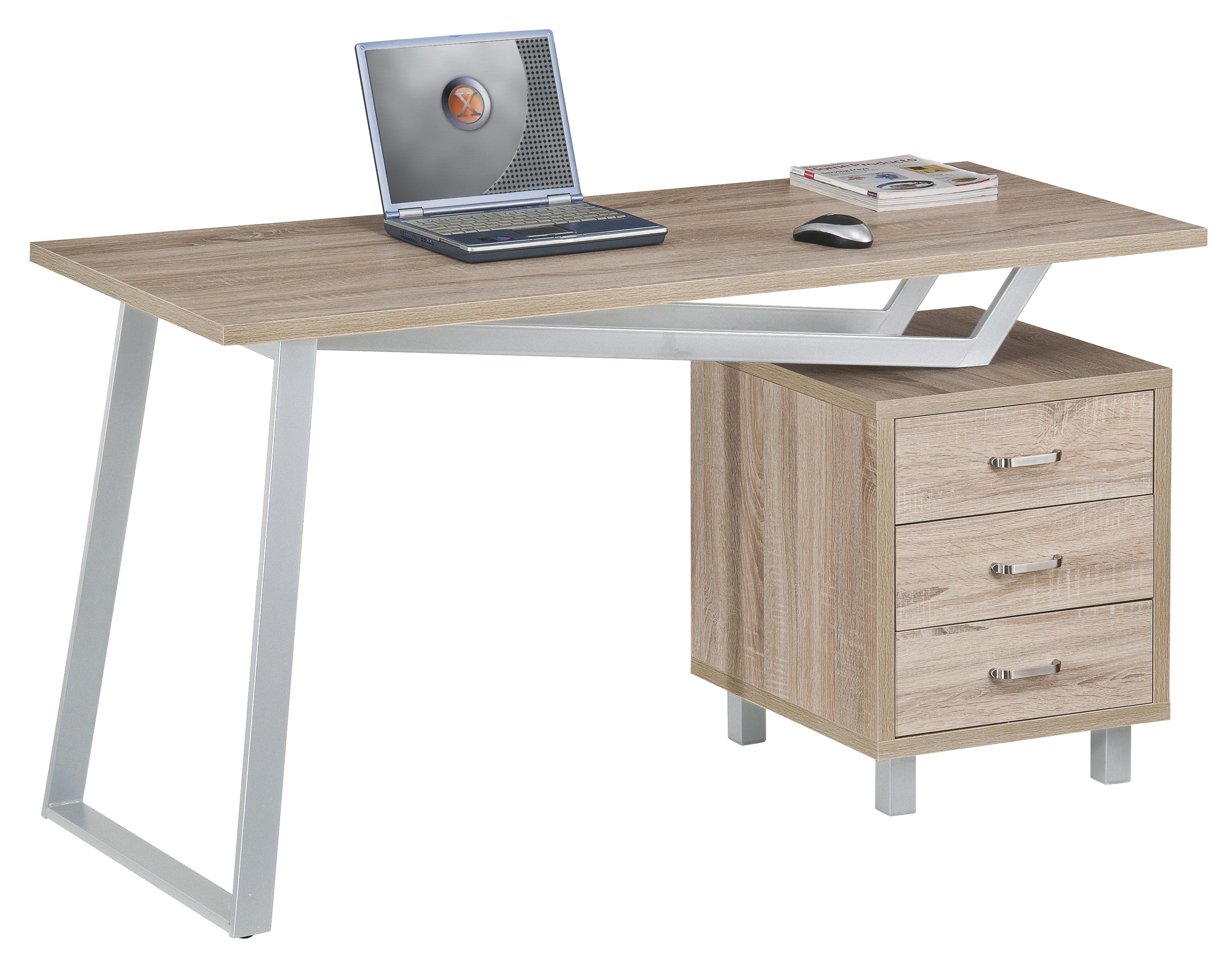 Techly scrivania per computer con tre cassetti bianco quercia