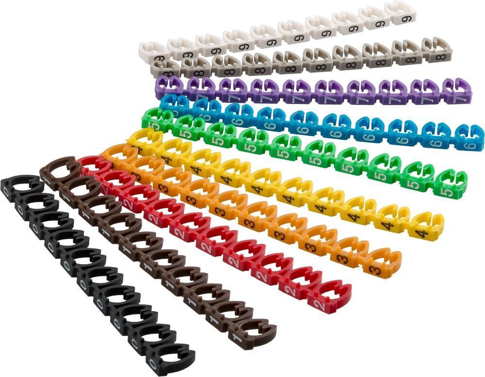 Segnacavo Colorato con Numeri ''''0-9'''' per C...